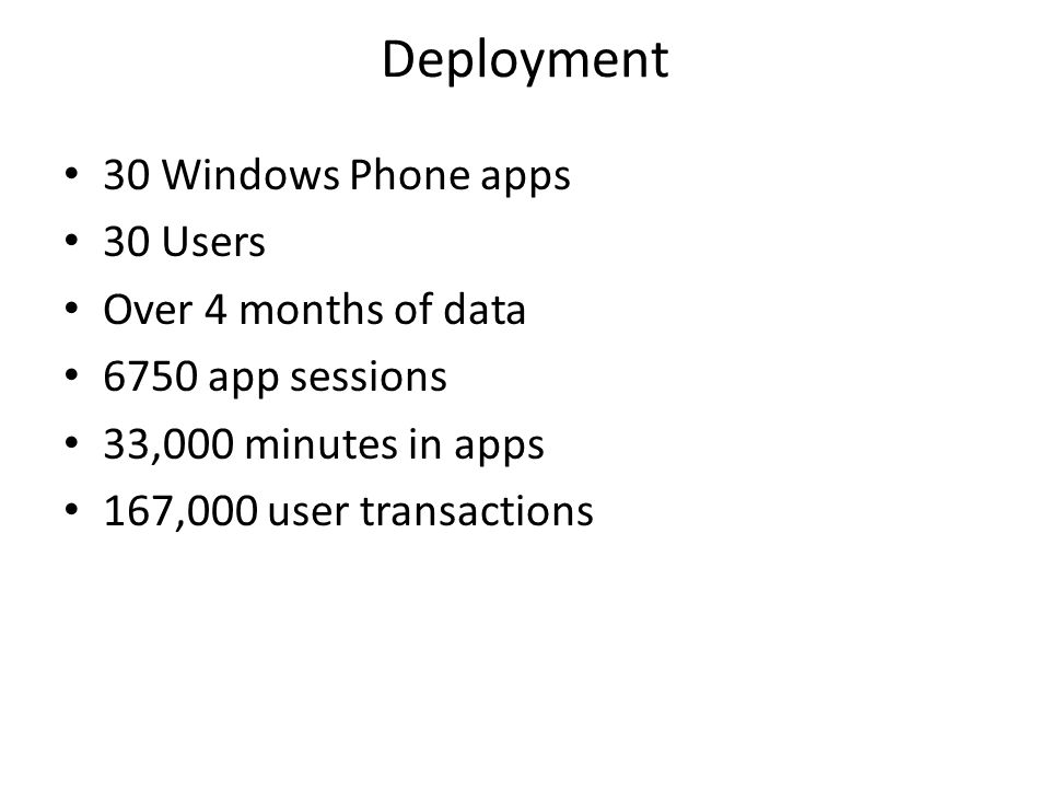 Deployment 30 Windows Phone apps 30 Users Over 4 months of data
