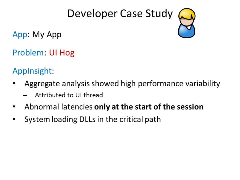 Developer Case Study App: My App Problem: UI Hog AppInsight: