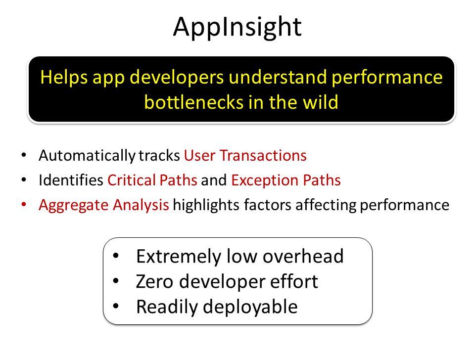 Helps app developers understand performance bottlenecks in the wild