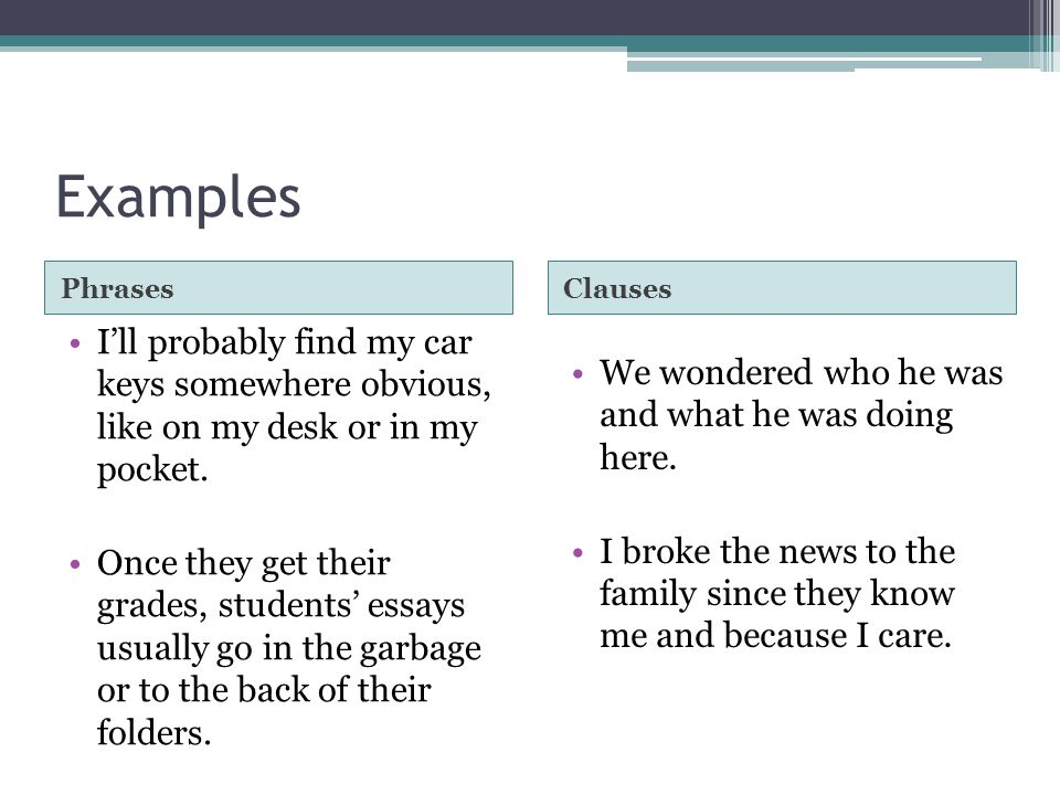 Examples Phrases. Clauses. I'll probably find my car keys somewhere obvious, like on my desk or in my pocket.