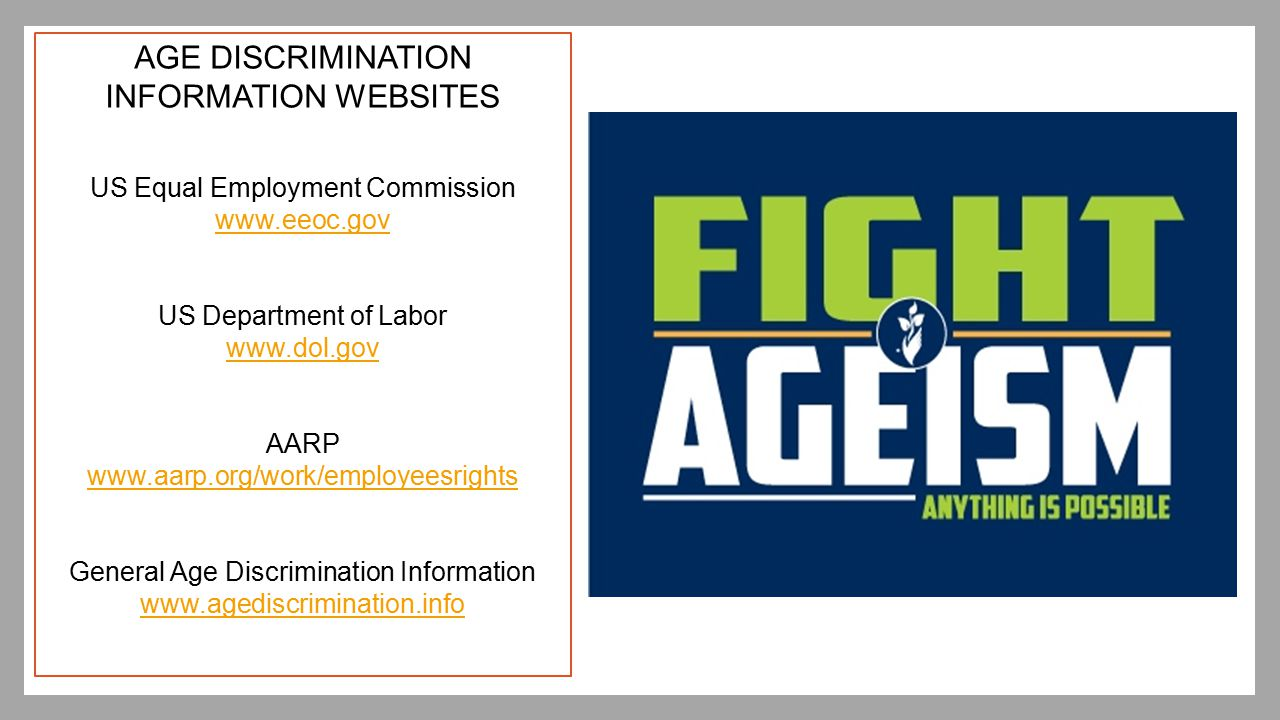 AGE DISCRIMINATION INFORMATION WEBSITES