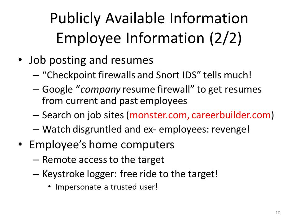 Publicly Available Information Employee Information (2/2)