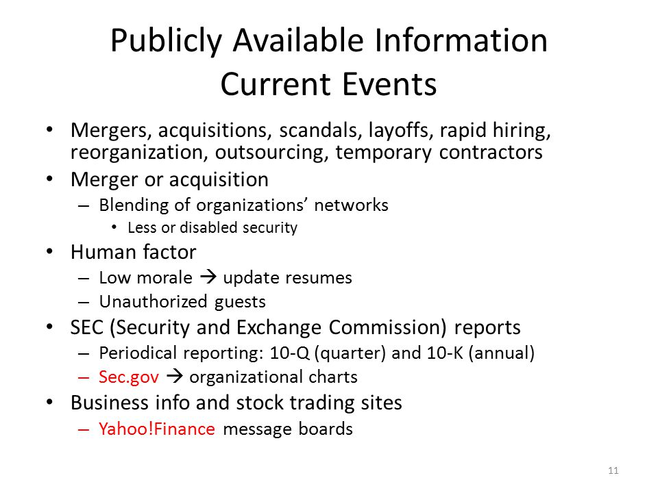 Publicly Available Information Current Events