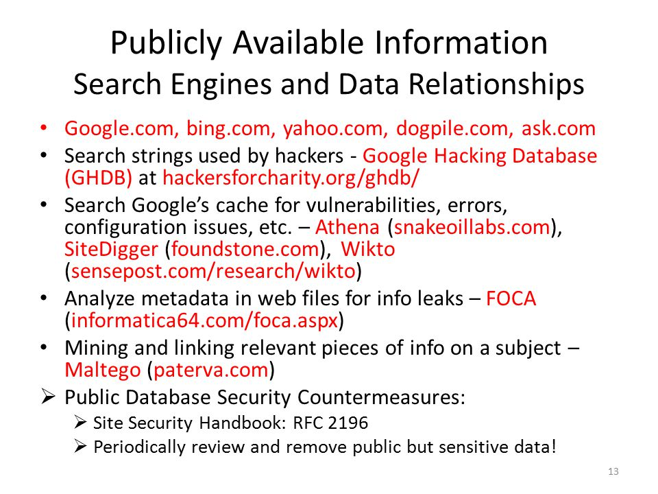 Publicly Available Information Search Engines and Data Relationships