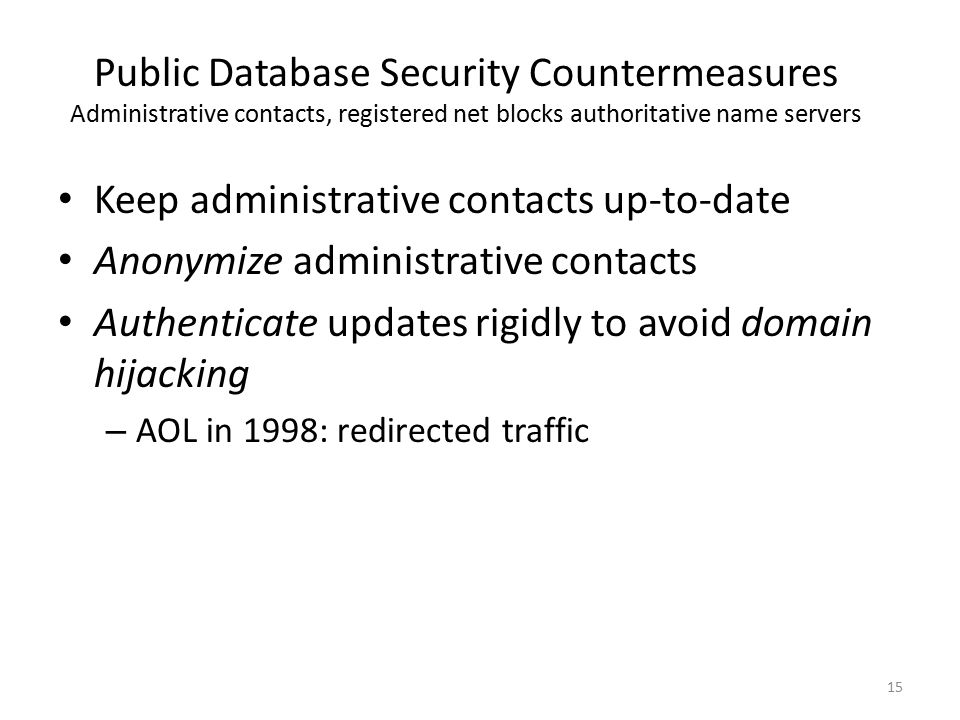 Keep administrative contacts up-to-date