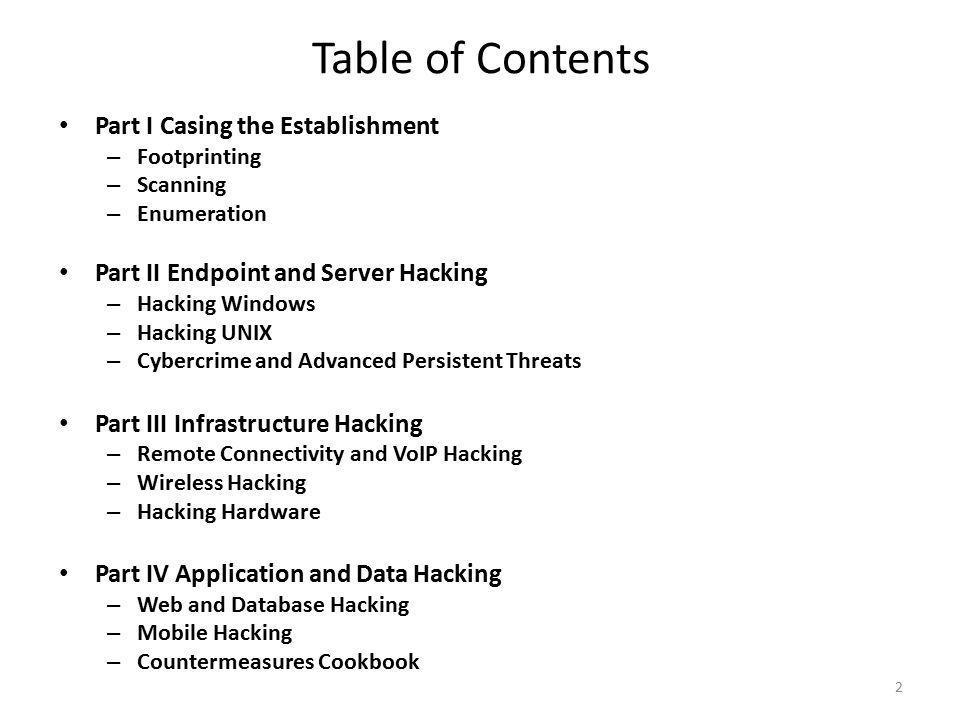 Table of Contents Part I Casing the Establishment