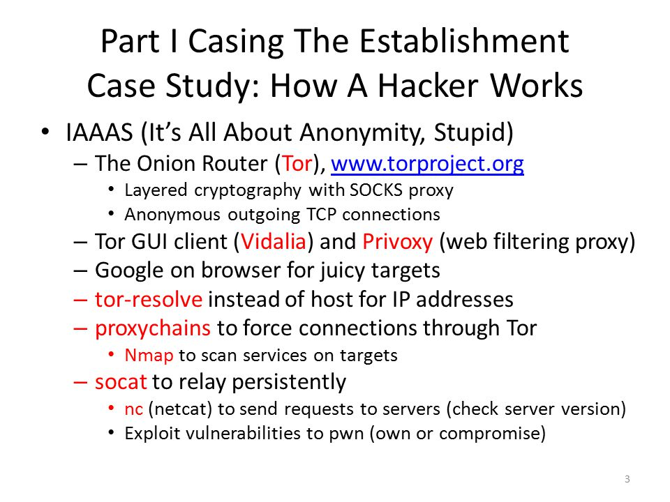 Part I Casing The Establishment Case Study: How A Hacker Works