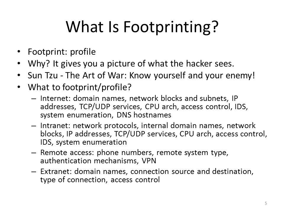 What Is Footprinting Footprint: profile