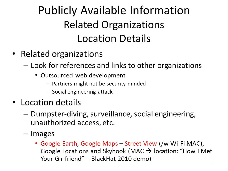 Publicly Available Information Related Organizations Location Details