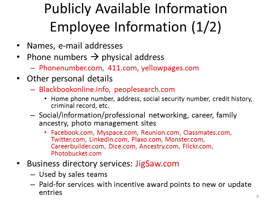 Publicly Available Information Employee Information (1/2)