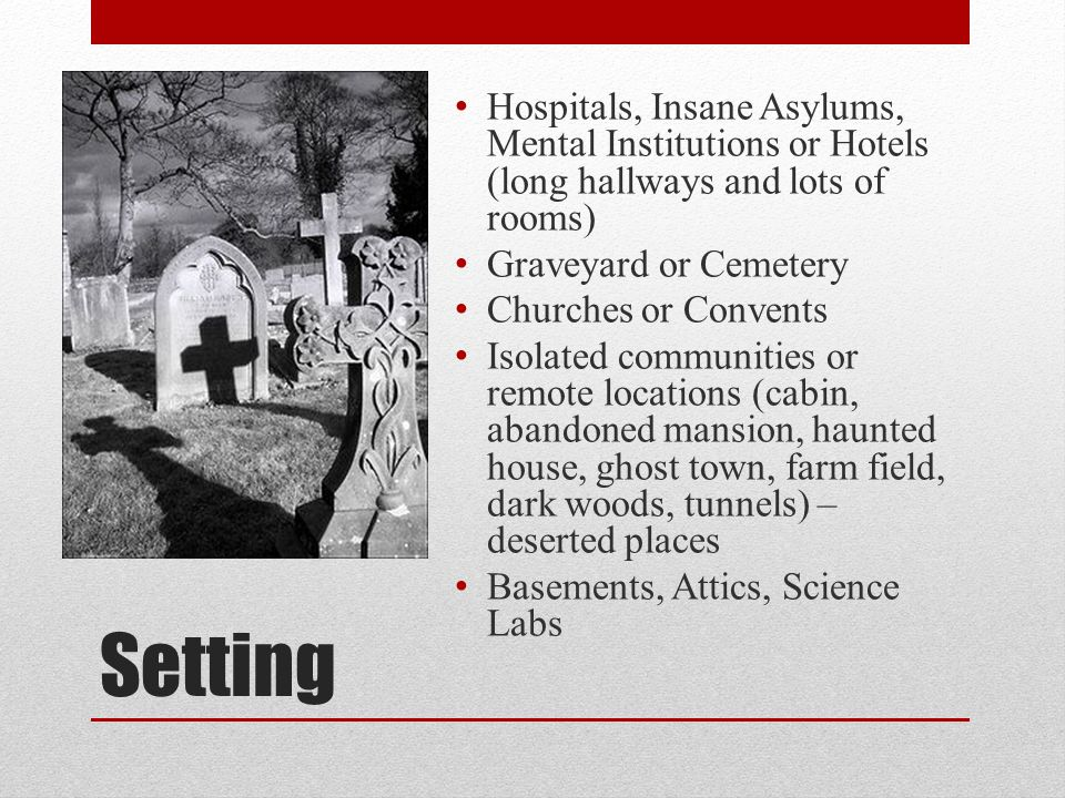 Hospitals, Insane Asylums, Mental Institutions or Hotels (long hallways and lots of rooms)