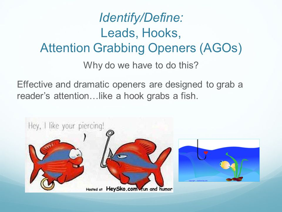 Identify/Define: Leads, Hooks, Attention Grabbing Openers (AGOs)