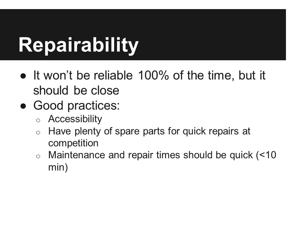 Relevance Everything on a drivetrain must be worth the work and risk of including it.