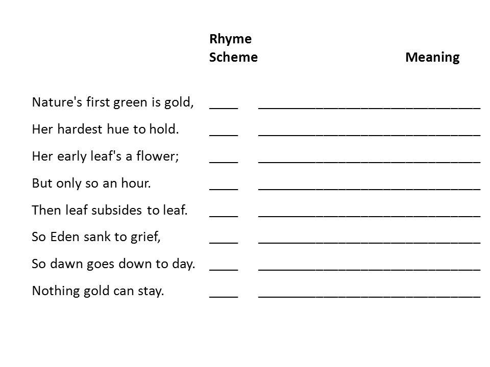 Rhyme Scheme Meaning.