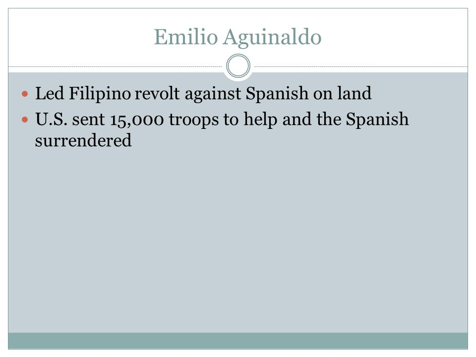 Emilio Aguinaldo Led Filipino revolt against Spanish on land