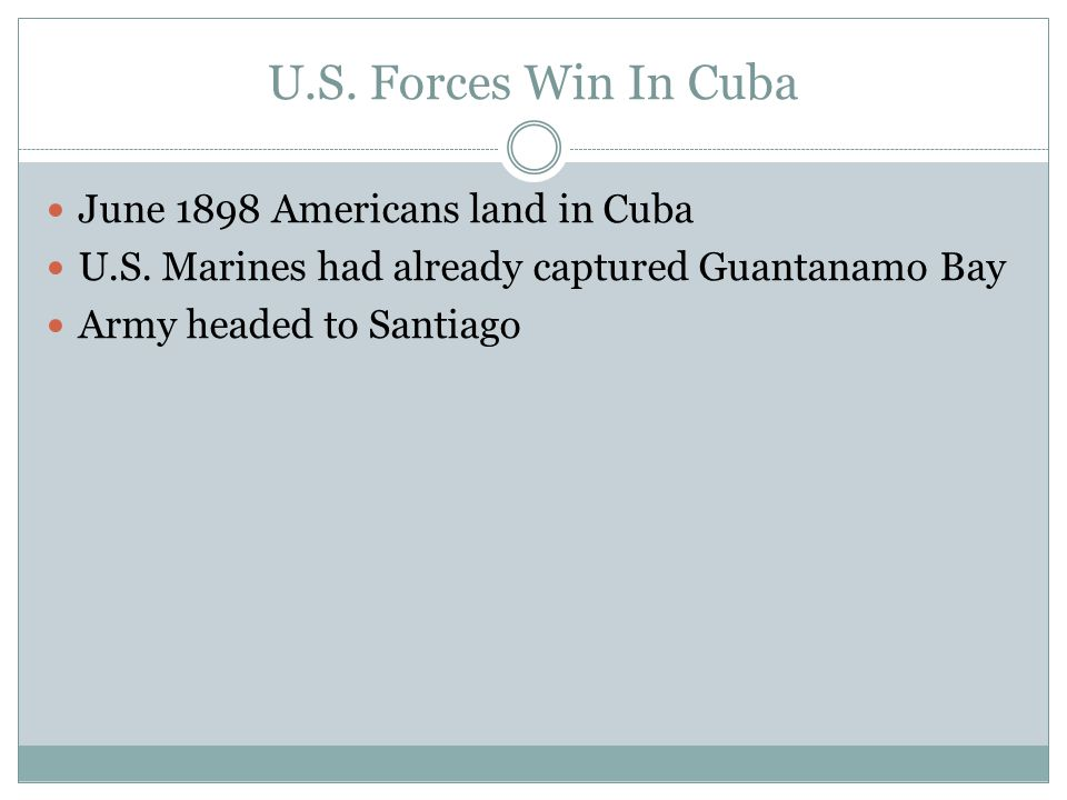 U.S. Forces Win In Cuba June 1898 Americans land in Cuba
