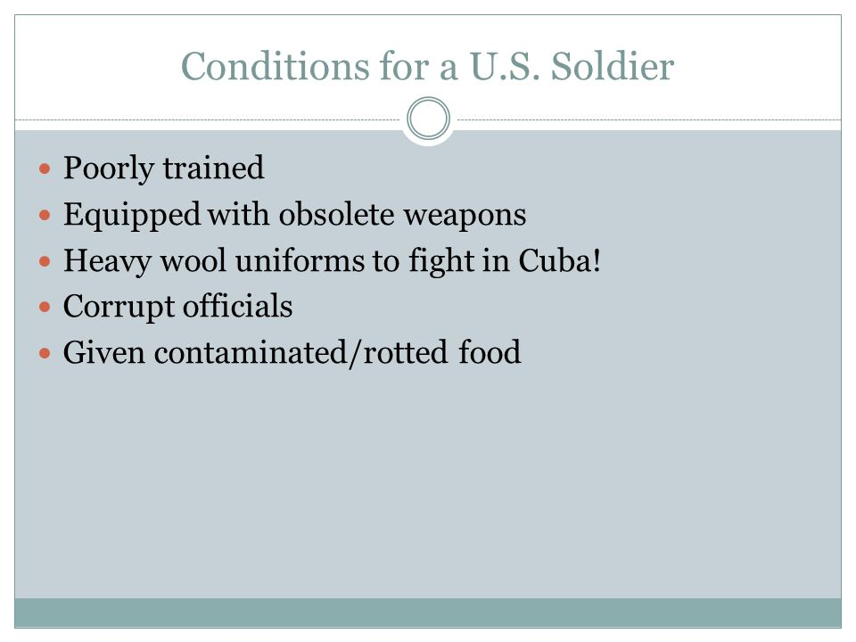 Conditions for a U.S. Soldier