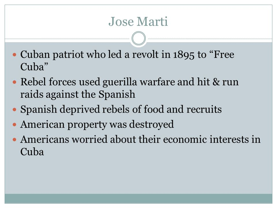 Jose Marti Cuban patriot who led a revolt in 1895 to Free Cuba