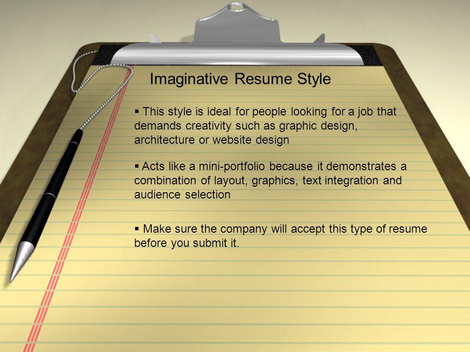 Imaginative Resume Style