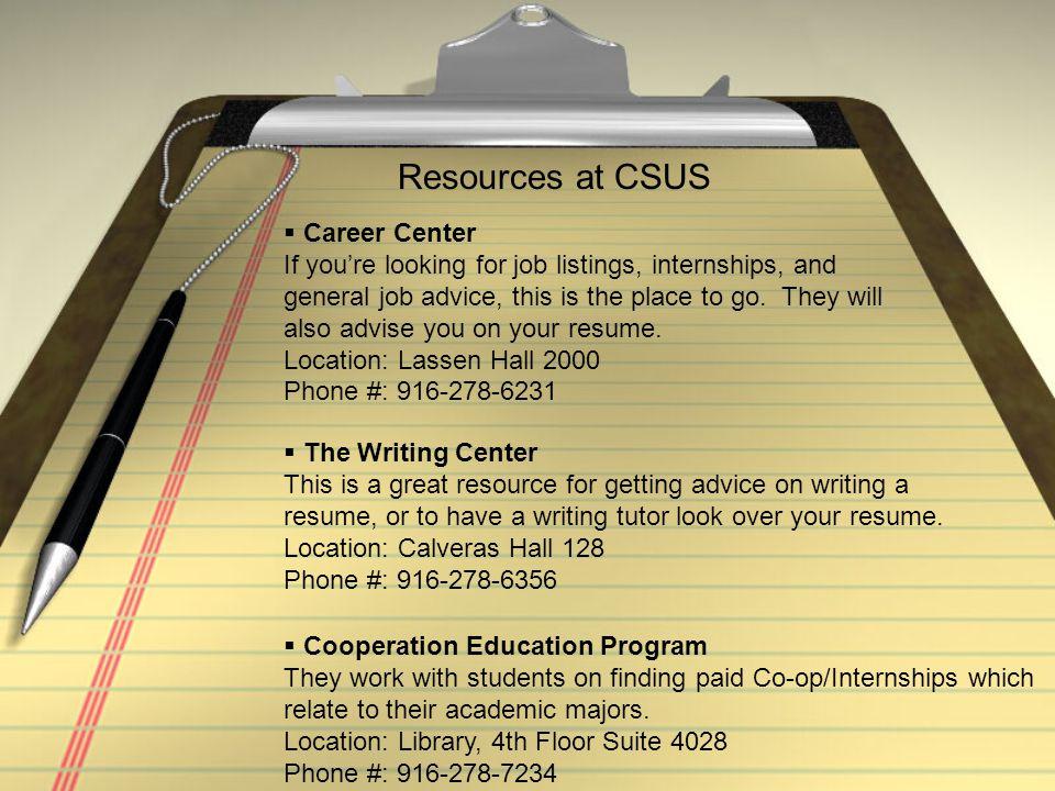 Resources at CSUS Career Center