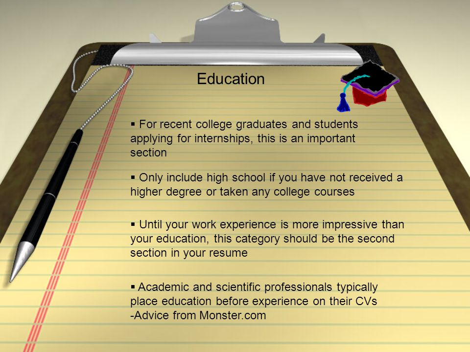 Education For recent college graduates and students