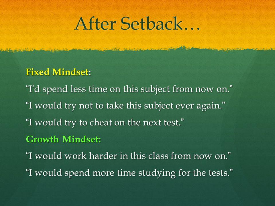 After Setback… Fixed Mindset: