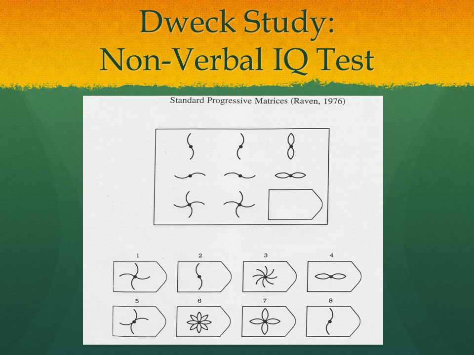 Dweck Study: Non-Verbal IQ Test