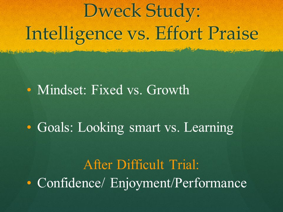 Dweck Study: Intelligence vs. Effort Praise