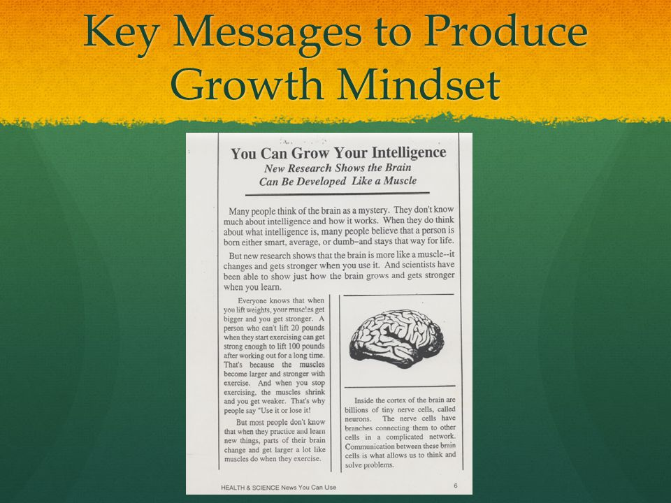 Key Messages to Produce Growth Mindset