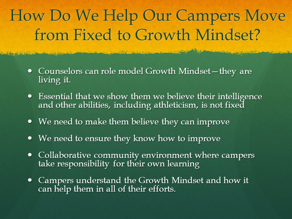 How Do We Help Our Campers Move from Fixed to Growth Mindset