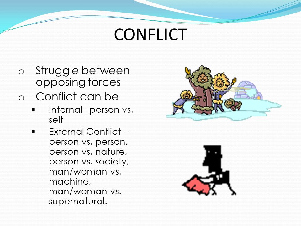 CONFLICT Struggle between opposing forces Conflict can be