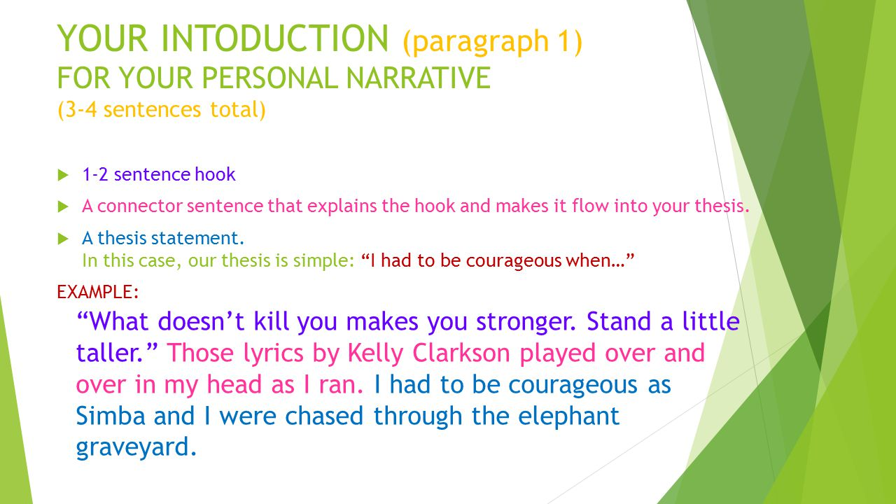personal narrative thesis statement examples