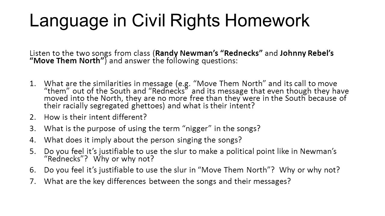 Language in Civil Rights Homework