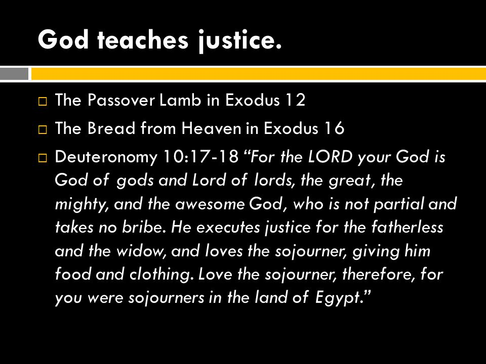 God teaches justice. The Passover Lamb in Exodus 12