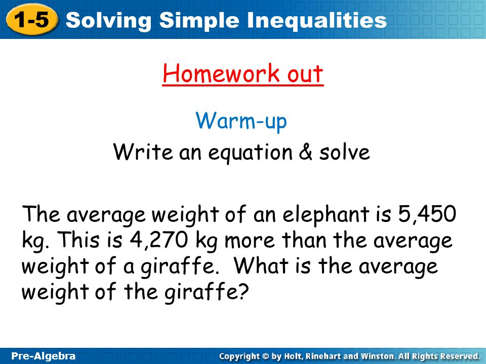 Write an equation & solve