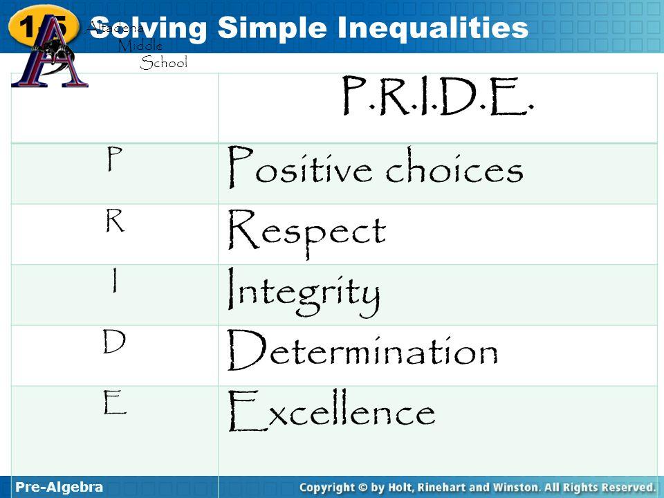 Positive choices Respect Integrity Determination Excellence P.R.I.D.E.