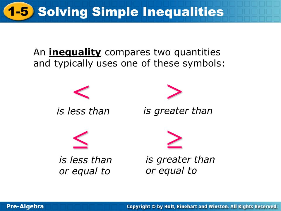 An inequality compares two quantities and typically uses one of these symbols:
