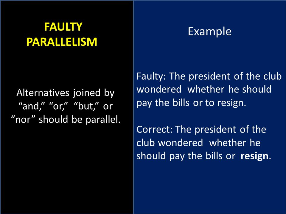 Example FAULTY PARALLELISM