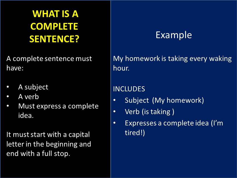 WHAT IS A COMPLETE SENTENCE