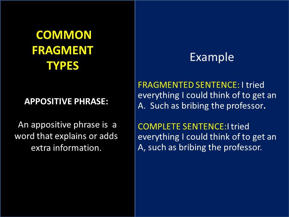 Example COMMON FRAGMENT TYPES
