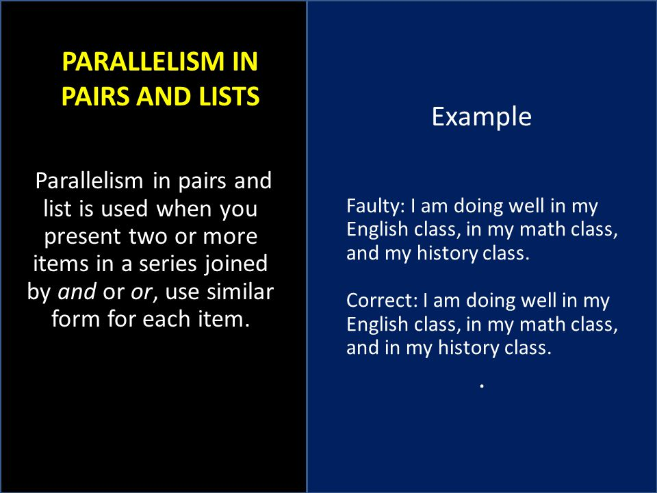 PARALLELISM IN PAIRS AND LISTS