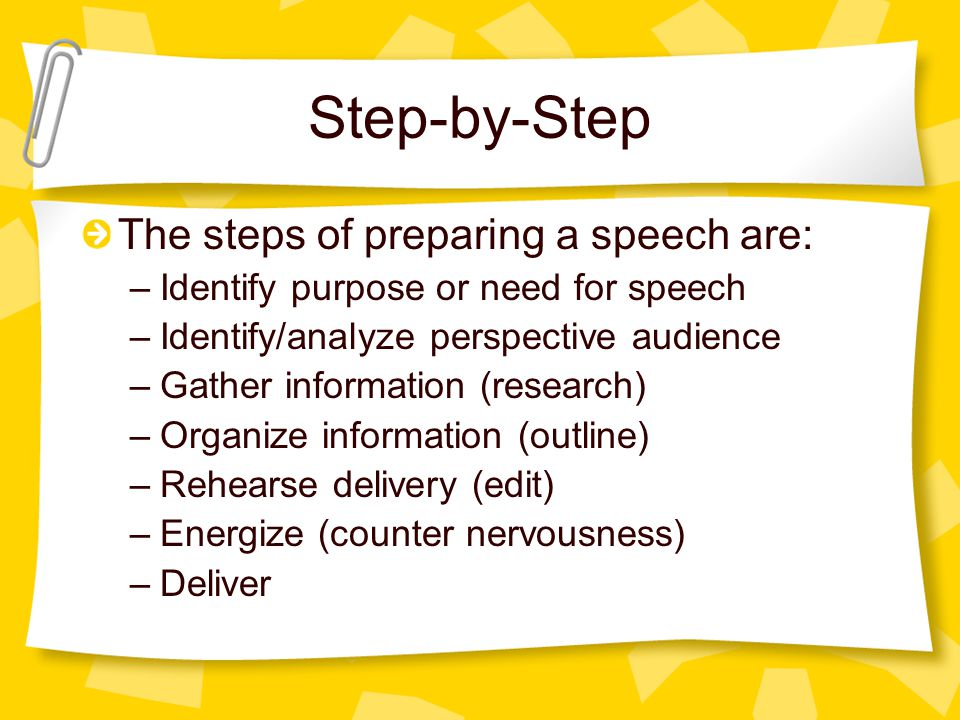 Step-by-Step The steps of preparing a speech are: