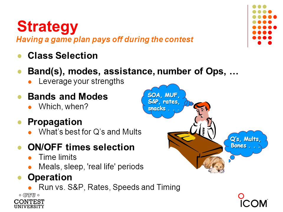 Strategy Class Selection Band(s), modes, assistance, number of Ops, …