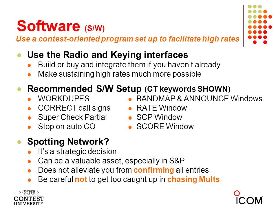 Software (S/W) Use the Radio and Keying interfaces