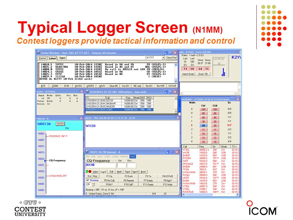 Typical Logger Screen (N1MM)