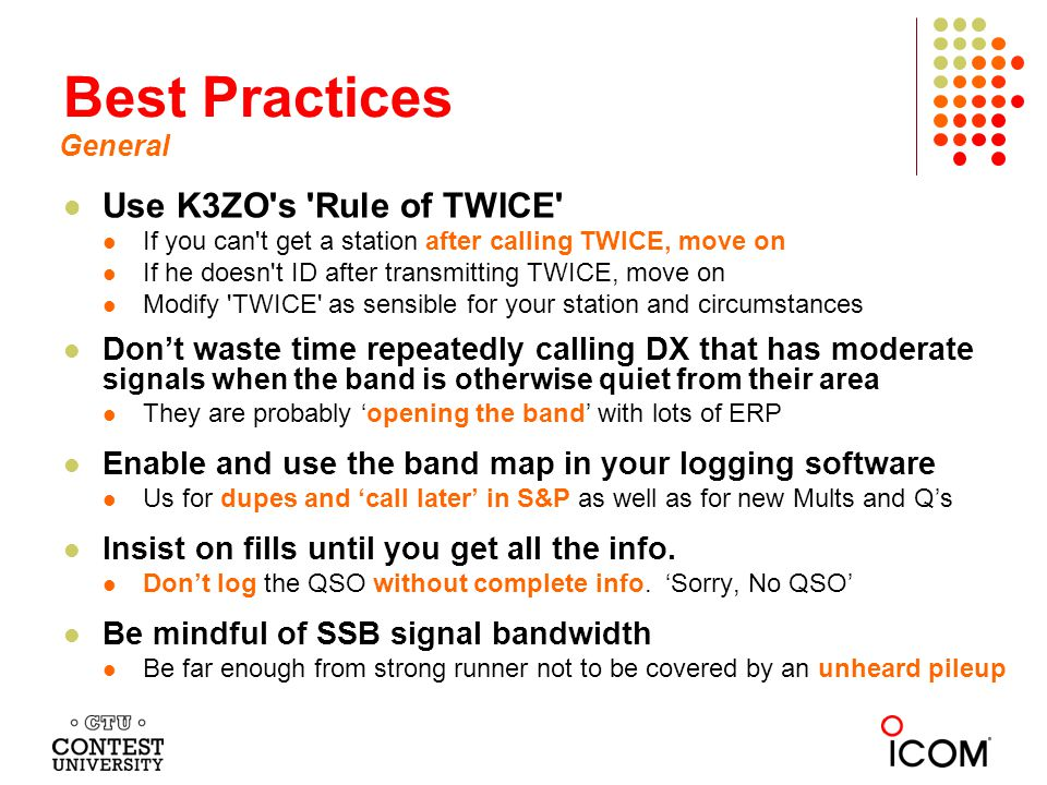 Best Practices Use K3ZO s Rule of TWICE