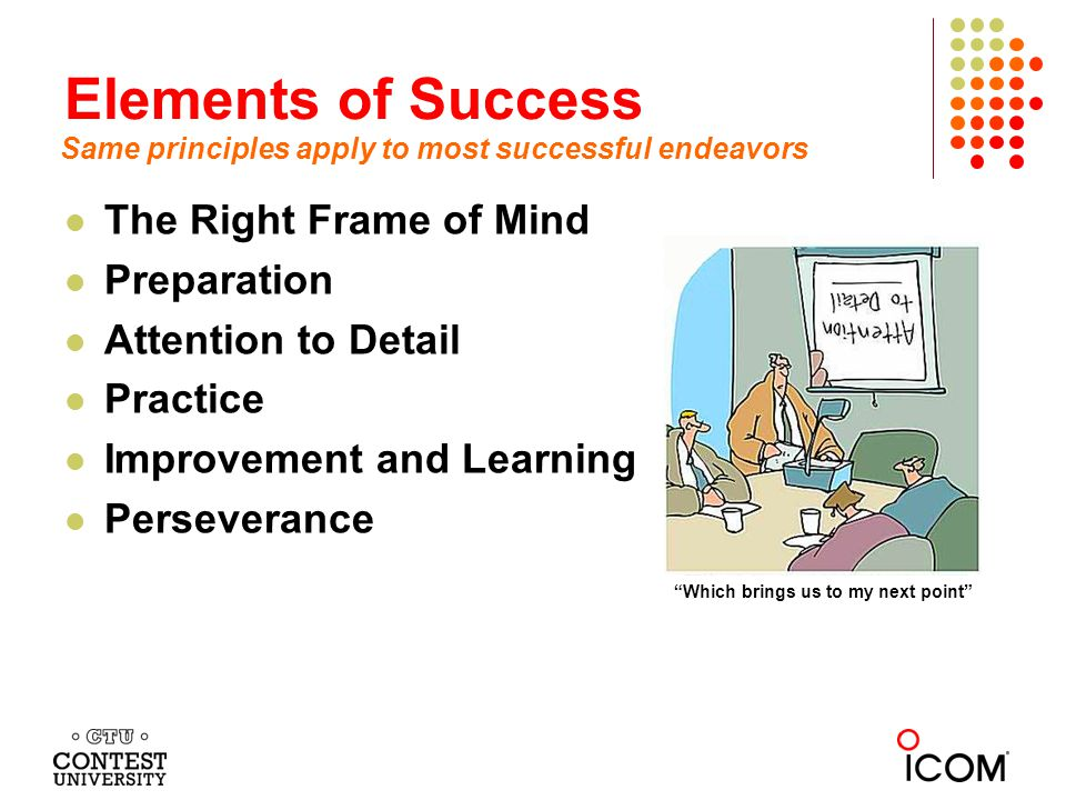 Elements of Success The Right Frame of Mind Preparation