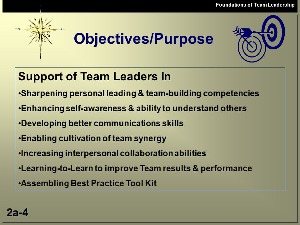 Objectives/Purpose Support of Team Leaders In