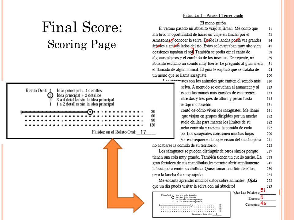Final Score: Scoring Page 51 5 46