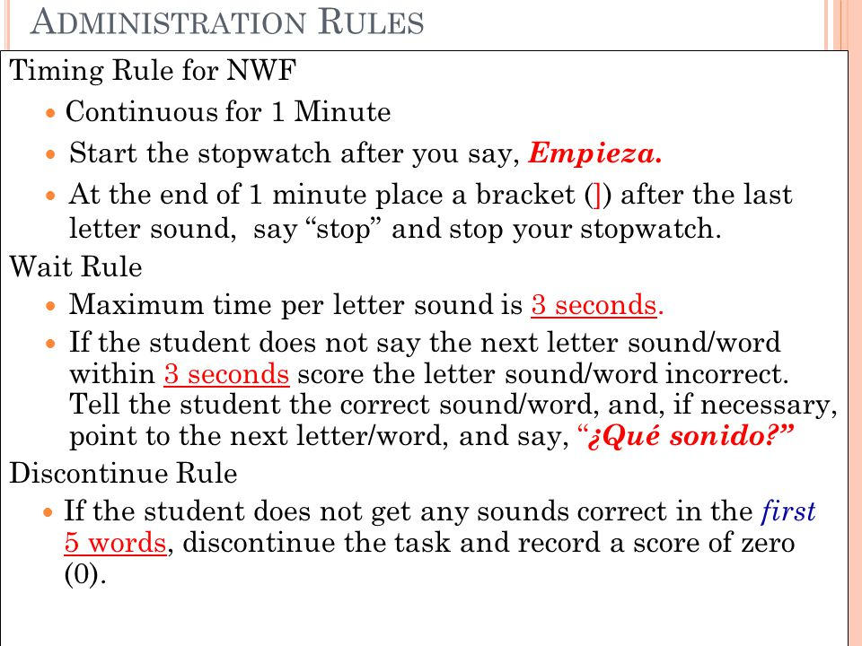 Administration Rules Timing Rule for NWF Continuous for 1 Minute